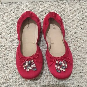 Zara Girls Pink Blush Jeweled Ballet Flats in 38
